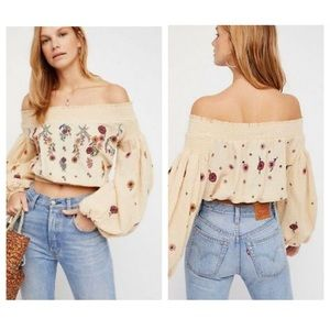 Free People Saachi Smocked Embroidered Top Crop